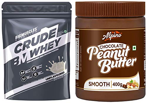 Bigmuscles Nutrition Crude Whey, 1kg and Alpino Chocolate Peanut Butter Smooth, 400 gm