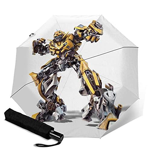 Movie Transformers Bumblebee Paraguas automático de tres plegables, ligero y portátil para fines soleados y lluviosos, sombreado al sol y a prueba de rayos UV