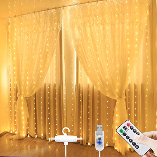 AIGUMI Curtain Fairy Lights 280 LED, 3mx2.8m USB Window Fairy String Lights with Hook, 8 Modes Remote Control Curtain Lights for Indoor Outdoor Wedding Party Christmas Bedroom Gazebo Decorations