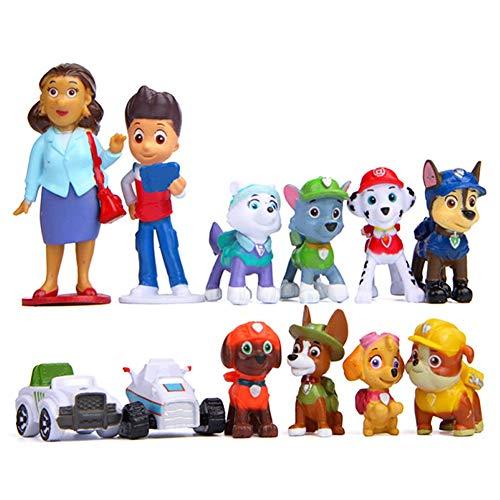 Nesloonp Torta Toppers 12 Pezzi Dog Patrol Topper per Torte Torta Giocattolo Personaggio Mini Ornamento del Giardino Decor Figurine Bambini Regali, per Decorazioni per Torte di Compleanno Bambini