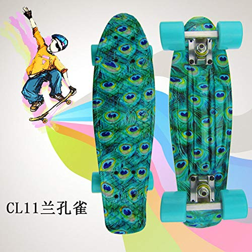 Cruiser,Blauer Pfauenkreuzer Kunststoff Vierrädriges Kleines Fischskateboard Straße Single Tilt Skateboard, Leichtes Tragbares Klassisches Kind Erwachsener Outdoor-Sport Brush The Street Skateboard