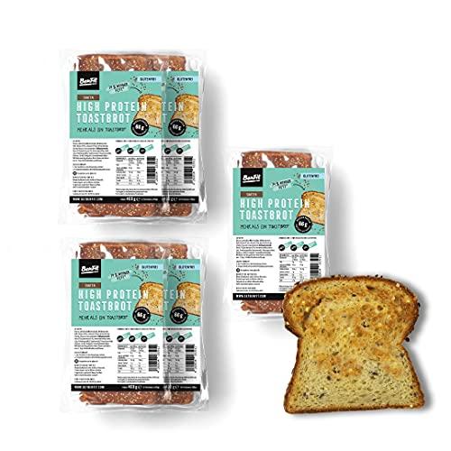 BenFit High Protein Vollkorn Toast glutenfrei, Eiweißbrot für Diät/Muskelaufbau/Bodybuilding/Fitness (5 Packungen)