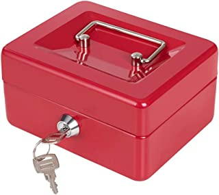 Cash Box with Key Lock for Kids Cash Box with Money Tray Small Metal Coin Bank 5.9 x 4.7 x 3.1 Inches Red