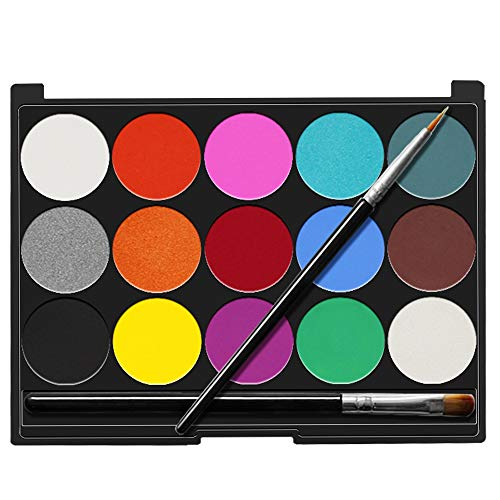 Senbos Face Body Paint Kits for Kids Adults 15 Colors Non-Toxic Professional Quality Palette Body Face Painting Supplies with 2 Brushes for Party Cosplay