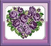 クロスステッチ刺繍キット 図柄印刷 初心者 ホームの装飾 刺繍糸 針 布 11CT Cross Stitch ホームの装飾 ローズハートパープル 40x50cm