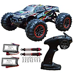 Oversize high speed RC cars,Speed up to 46KM/H. Extra 1 Battery,2 pack shock absorber and 8 pack body clip,total include 2 battery in package,working time over 30+ minutes with 2 battery. 【Double Motors,Strong Powerful】Equipped with two motors, max s...