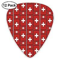 スイス国旗パズル ピック ギター ベース 12枚入り 厚さ3種類 収納ケース付 ティアドロップ型 ギターピック 練習 初心者