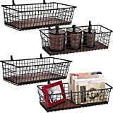 4 Set [Extra Large] Portable Metal Farmhouse Wall Decor Storage Organizer Basket Bin with Handles and Floating Shelves for Hanging in Entryway,Bathroom,Kitchen-Wall Mount Hooks Included (4, Black)