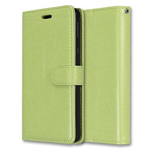 Laybomo Schuzhülle für Sony Xperia E5 Hülle Ledertasche Weiches Gummi Silikon TPU Haut Beutel Schützend Stehen Bilderrahmen Brieftasche Schale Tasche Handyhülle für Sony Xperia E5 (Grün)