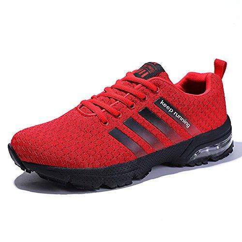 Damen Herren Laufschuhe Sportschuhe Turnschuhe Trainers Running Fitness Atmungsaktiv Sneakers (44 EU, Rot)