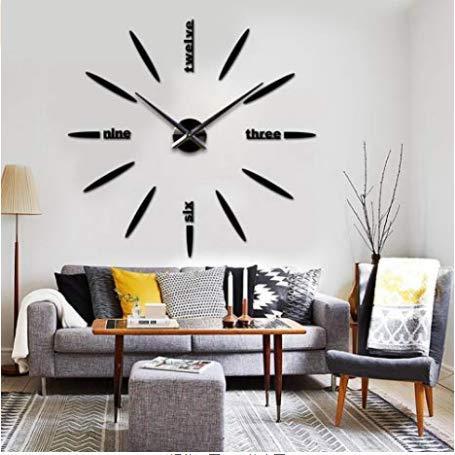 Mishuai Muur klok muur klok handgemaakte DIY muur klok aparte muur sticker interieur eenvoudige wandklok Nordic stijl zwart/goud zilver 3 kleur optioneel