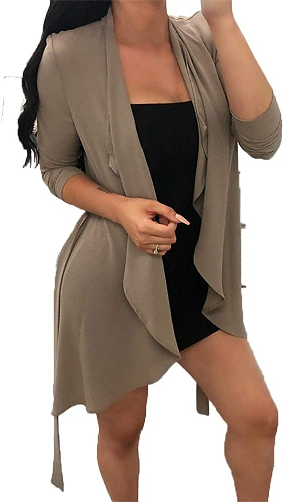 Andongnywell Women's Solid Color Fashion Soft Longline Long Sleeve Open Front Cardigan Overcoats Outwear