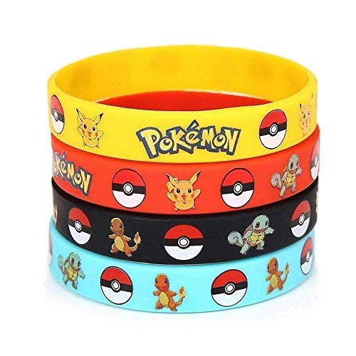 24 pc Pokemon Silicone Bracelet Set - Great for Parties and Loot Bags - Poke Themed Party Pikachu Charmander Squirtle Bulbasaur Pokemon Evoluton Complete Set