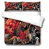 NBAOBAO Venom Bettbezug-Set?Spider Man Bettwäsche-Set?Geeignet für alle Jahreszeiten, versteckter Reißverschluss?1 Bettbezug 2Kissenbezüge (Venom-4,135X200cm+50x75cmx2)