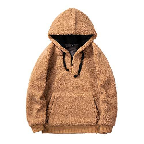 KPILP Herren Kapuzenjacke Teddy Zip Hoodie Langarm Sweatshirts Plüsch Teddy Fleece mit Tasche Kapuzenpullover Cardigan Damen Hoodie Winter Warm Mantel