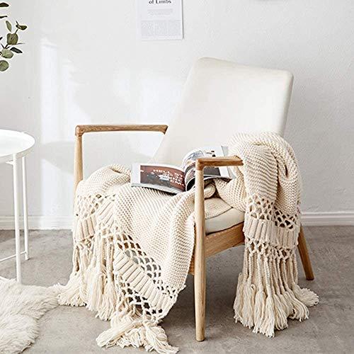 XIAOKUOAI Gestrickte Decke mit Quaste Beige für Nap auf dem Stuhl Sofa und Bet, Weich und Warm Kuscheldecke, Handgemachte Strickdecke, Wohndecke für Wohnzimmer/Büro, 120 x180cm