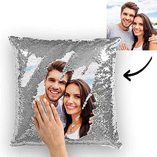 Fotokissen selbst gestalten, Kissen Personalisiert mit Foto Bedrucken Lassen 40 x 40 cm Pailletten Kissen mit Bezug und Füllung Flauschig Süßes Pärchen Geschenke für Jahrestage Hochzeitstag