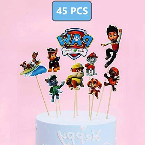 Muxi 45 garras Patrulla para pasteles cortados para niños, pasteles de bebé, fiesta de cumpleaños, decoración para pasteles