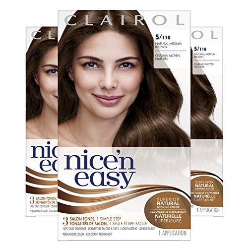 Clairol Nice'n Easy Original Permanent Hair Color, 5 Medium Brown, 3 Count