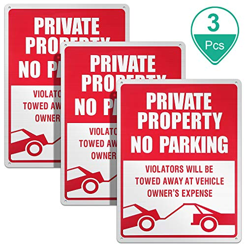 3 Pieces No Parking Sign Private Property Sign Violators Will Be Towed Sign Aluminum Sign Rust Free Weatherproof Indoor and Outdoor Use, 10 x 14 Inches