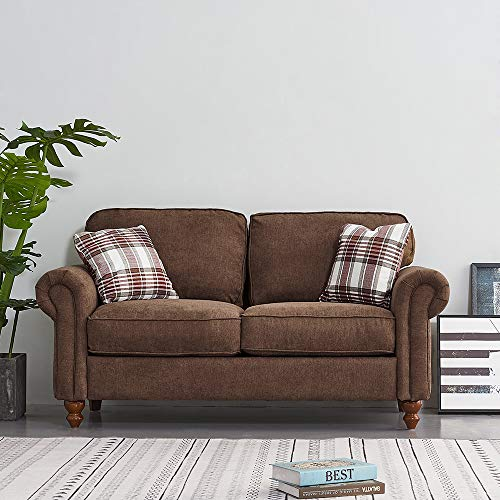 2 Seater/3 Seater Sofa Couch Settee Fabric Sofa Living Room Sofa with Retro Design Leg and 2 Free Cushions (Brown, 2 Seater)