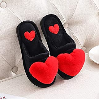 YANGLAN Autumn and winter cotton slippers men and women home slippers winter indoor flooring with non-slip thick soft bottom half a pack with warm month Household slippers