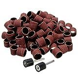 Duradero 100 unids/set 80 gritos de lija pulido tambor batería kit de lijado 1/8 pulgadas mandriles de arena for dremel herramientas rotativas de taladro de uñas Juego de lijadoras Taladro Lijado