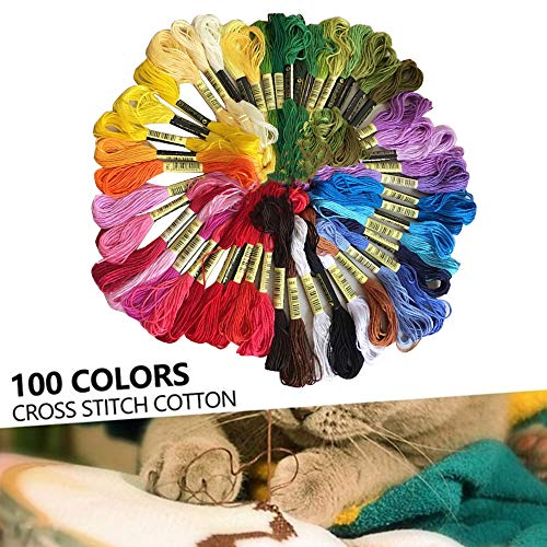 100 Cores Fio de Bordado 100 Novelos Pulseiras de Amizade Fio Fio de Costura Linha de Bordar Fio de Ponto Cruz Multicolor para Artesanato em Ponto Cruz