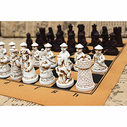 International Chess Pieces Volledige Instellen, Stripfiguur Bordspel Portable Resin Chess Board Training Kinderen Teenager Gifts