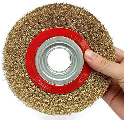 Alger Cepillo de Alambre Rueda de Alambre de 125 mm Acero galvanizado de latón Rueda de Cepillo de Alambre de Acero Inoxidable Utilizada para Amoladora de Banco Desbarbado