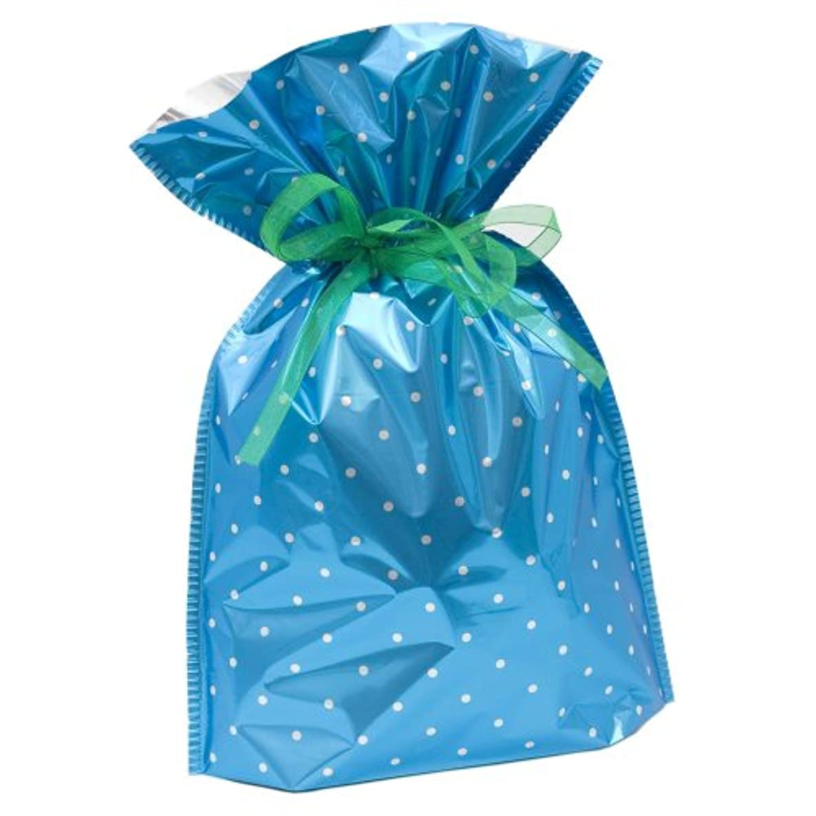 Gift Mate 21054-6 6-Piece Drawstring Gift Bags, Medium, Blue Polka Dot