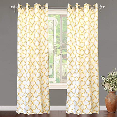 DriftAway Geo Trellis Room Darkening Thermal Insulated Grommet Unlined Window Curtain Drapes Pair for Living Room Bedroom Set of 2 Panels Each 52 by 84 Inch Yellow