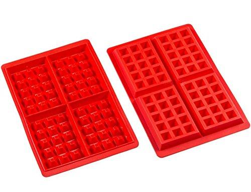 Amison Lot de 2 moules à gaufre en silicone, moule à chocolat / gâteau / glaçons / gaufrette, tablette de chocolat
