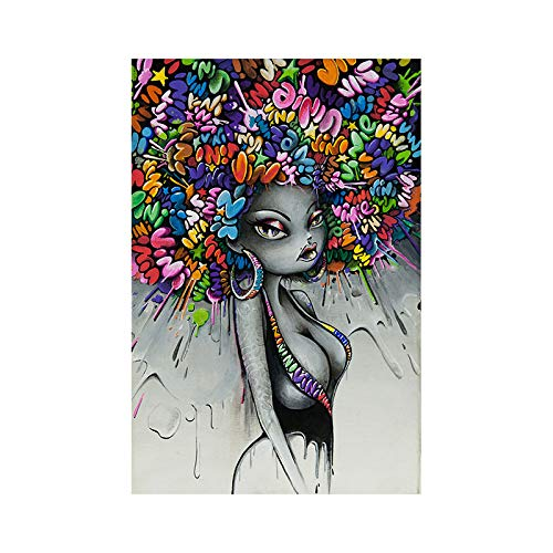 Muurstickers voor kunstwerken, verschillende stijlen, wanddecoratie voor slaapkamer, geschenk thuis kleurenafdrukken voor dames, Afrikaanse vrouw, cartoonfiguur, decoratie voor thuis, decoratie zonder lijst 21*30cm