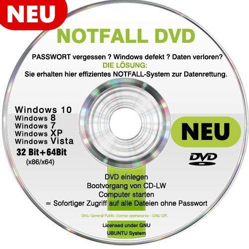 Recovery & Repair CD DVD für WINDOWS 10 Win 8 Windows 7 Vista XP Lösung bei PASSWORT vergessen und Daten verloren ? Windows defekt?