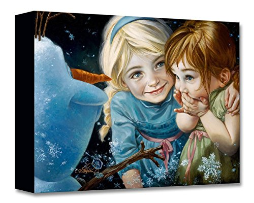 Disney Fine Art Never Let It Go by Heather Edwards Treasures on Canvas Frozen Elsa Anna Olaf 12 Inches x 16 Inches Reproduction Gallery Wrapped Canvas Wall Art