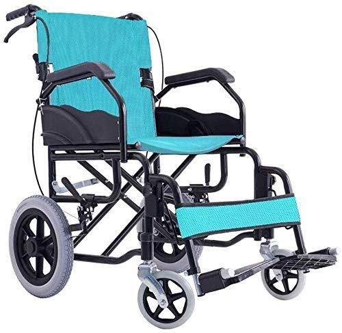 RONGW JKUNYU Wheelchair Wheelchair- Folding Wheelchair Lightweight Portable Ultra-Light Old Trolley, Carbon Steel/Solid Wheel, Green, 88x58x86cm