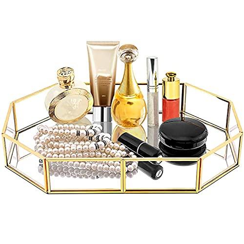 Bandeja de Almacenamiento del Espejo de Cristal Dorado,Bandejas para Cosméticos de Metal Poligonal para Juego de té Collar Perfumes la Joyería,Exquisito Bandejas Decorativas,215 x 145 x 42 mm