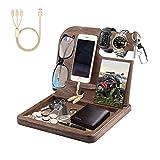 KnightTec Estación de carga de madera para teléfono móvil para hombre, para mesita de noche, organizador de escritorio con cable de carga, mantiene las llaves del teléfono, el reloj, las gafas-marrón