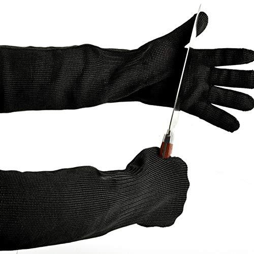 Schnittfeste Handschuhe 1 Paar Anti-Schneidhandschuhe, Edelstahl-Mesh-Metalldraht Küchenschneid Metzger Hand Sicherheitshandschuhe, Erweiterter Arm