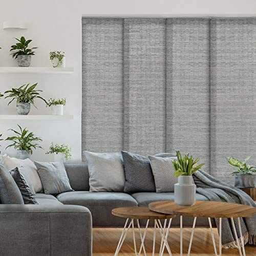 """GoDear Design Deluxe Adjustable Sliding Panel Track Blind 45.8""""- 86"""" W x 96"""" H, Extendable 4-Rail Track, Vertical Blind for Sliding Door, Grey Trimmable Pleated Natural Woven Fabric, Munich Castle"""
