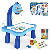 Child Learning Desk with Smart Projector, Trace and Draw Projector Toy with Light Music Painting, Children Projection Drawing Board, Educational Drawing Playset for Kids (Blue)