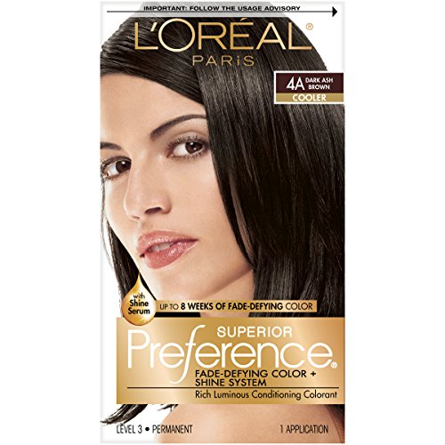 L'Oreal Paris Preference Fade-Defying Shine Permanent Hair Color, 4A Dark Ash Brown, 1 Count, 10 g