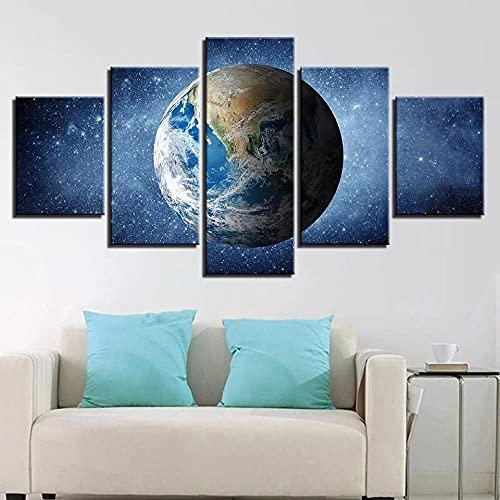 Decoracion Salon 5 Piezas de Arte Marco,Moderno HD sobre lienzos Universo Planeta Tierra impresión Cuadro Usado para Hogar Oficina Regalo, Tamaño Total (H-80cmxM/B-150cm)