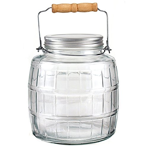 Anchor Hocking 1 Gallon Brushed Aluminum Lid Barrel Jar