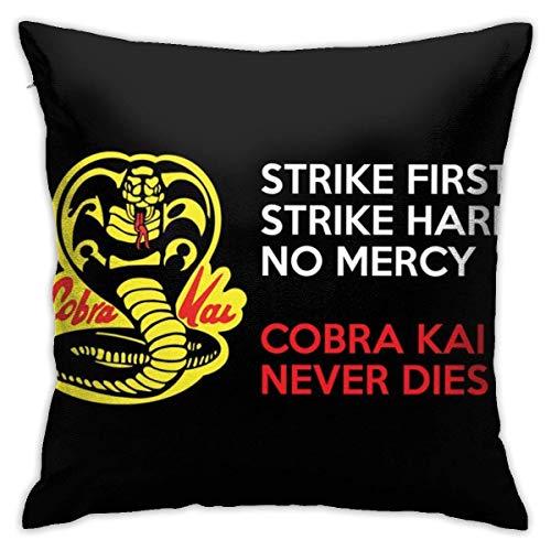 yukai wei1221474 Kissenbezüge Cushion Case Strike First Cobra Never Dies Karate Kid Trucker Cap Pillowcase Bedroom Couch Living Quarters Decorative Durable 18x18 Soft Plush Home Couch Cushions Cozy Z