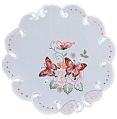 Raebel OHG Apolda Tischdecke 40 cm Rund Sekt Schmetterlinge Rot Bunt Gestickt Deckchen Frühling Sommer (40 cm)