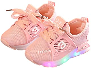 Yiwa Unisex Children LED Light Shoes Sports Casual Anti-skid Baby Breathable Shoes