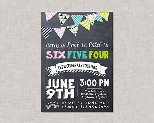 qidushop Holzschild für Geschwister Geburtstag Einladung Junge Mädchen Geburtstag Einladung gemeinsame Geburtstag Einladung Wimpelkette Einladung BBQ Barbecue Freund Cousin Schwestern Basteln