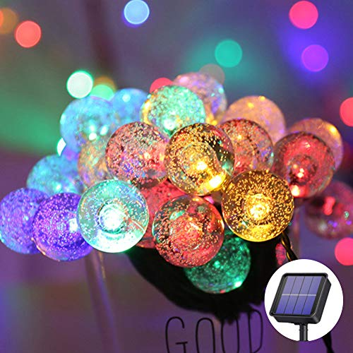 Catena Luminosa Solare Per Esterno 50 Led Giardino Luci Di Natale Stringa Impermeabile per Giardino, Patio Decorazione (Multicolore, 50 LED)